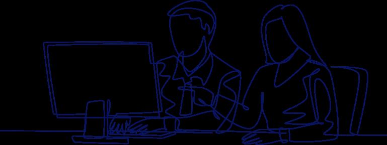 office pair computer source biospecimens line drawing